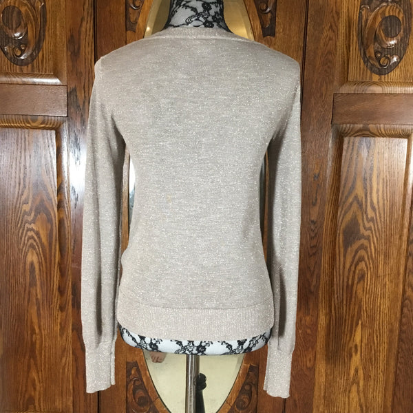 Express Metallic Champagne/Rose Gold Sparkly Long Sleeve Button Down Cardigan Sweater Size S/P