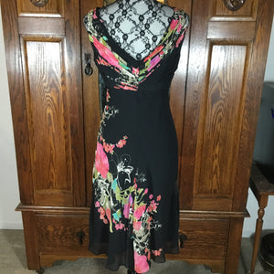 Adrianna Papell Black Floral Sleeveless Silk Dress Size 8