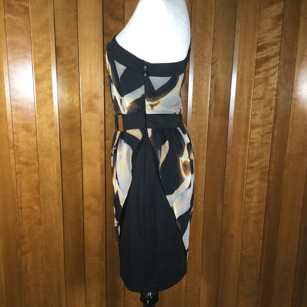 Bebe Black, Gold, & White Abstract Print One Shoulder Dress Size L