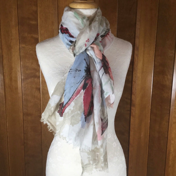 Eyeful White Watercolor Butterfly Print Sheer Wrap Scarf NWT