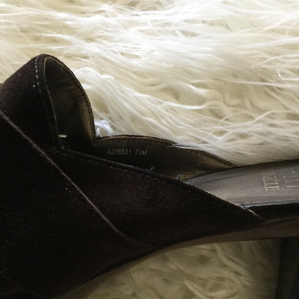 Stuart Weitzman Brown Suede High Heeled Mules Size 7.5