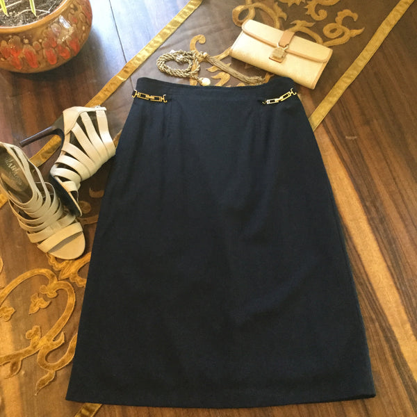 Escada Navy Blue High Waist Pencil Skirt Size 34
