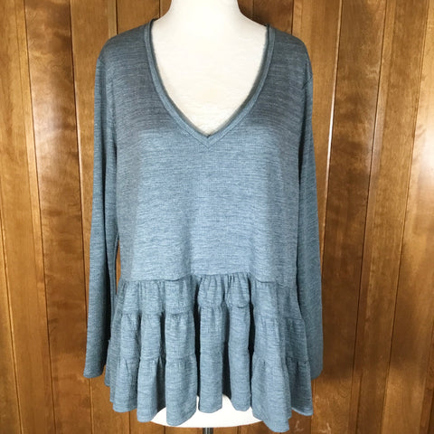 Anthropologie Deletta Blue Gray Long Sleeve Ruffle Bottom Peasant Top Size L/P