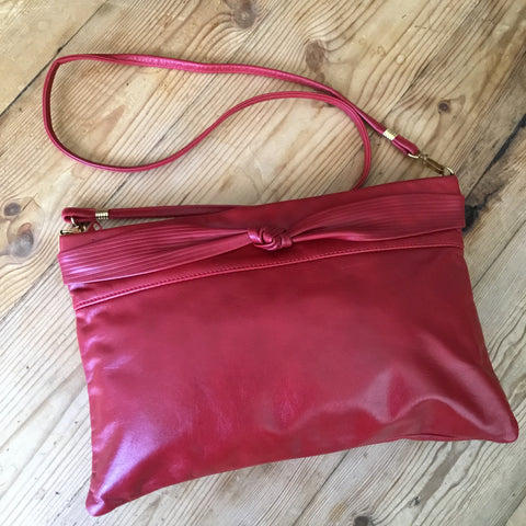 Mimo Sacs Toronto Red Leather Shoulder/Cross Body  Handbag Purse