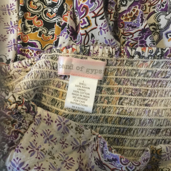 Band of Gypsies Purple & White Floral Print Strapless Tunic Blouse Size L