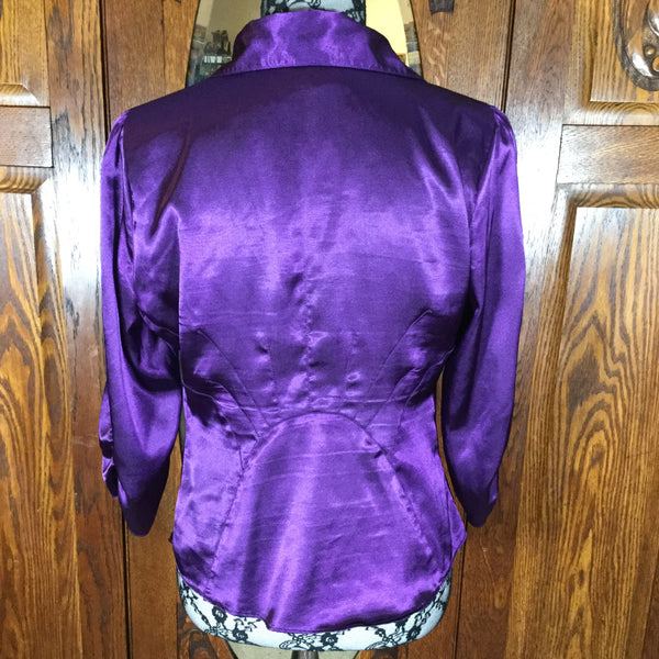 BCBGMaxAzria Purple Satin Button Snap Down Front Blouse Size M