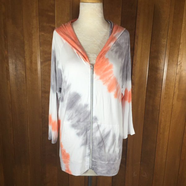Onque Casual Orange, Gray & White Tie Dye Jacket Size XL