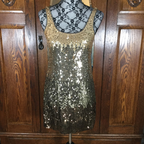 Express Gold Ombre' Sequin Sleeveless Mini Dress Size XS