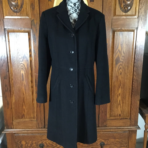 Ann Taylor Long Black Wool Long Sleeve Coat Size 14
