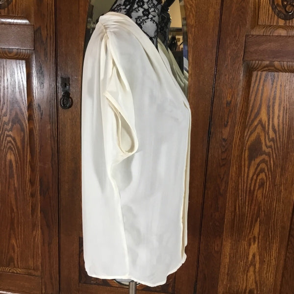 Vince White Sheer 100% Silk Batwing Blouse Size XS