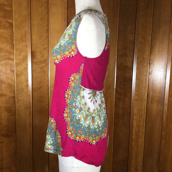 Anthropologie Meadow Rue Hot Pink & Green Paisley Print Sleeveless Top Size XS