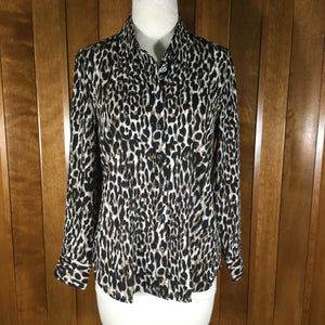 Banana Republic Dillon Classic Fit Black & Brown Leopard Print Long Sleeve Blouse Size S/P