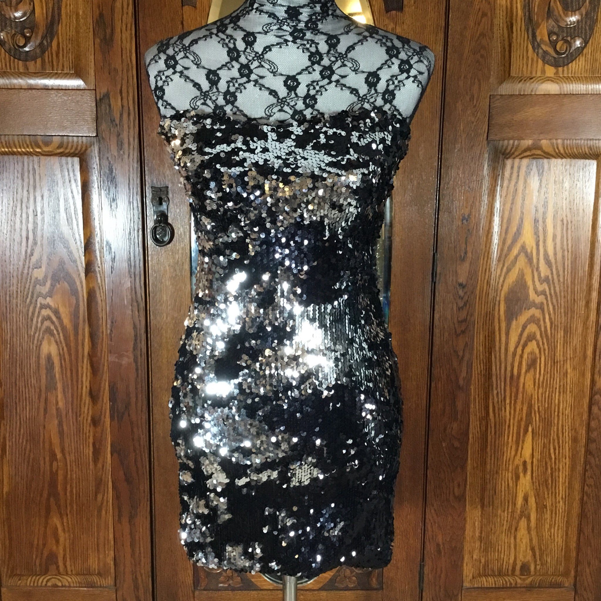 As a You Wish Black & Silver Sequin Strapless Tube Dress Size S