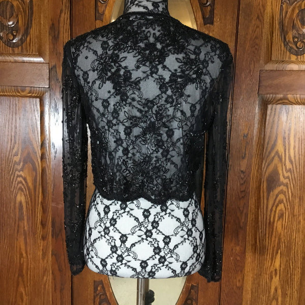 Vintage Black Sequin & Beaded Long Sleeve Open Crop Jacket Size S