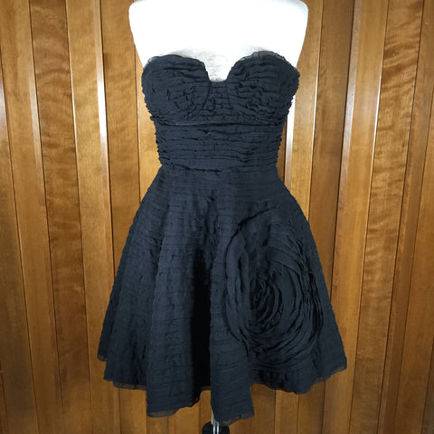 Diane von Furstenberg Delancy Black Silk Chiffon Strapless Dress Size 2