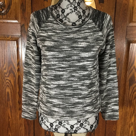 Banana Republic Black & White Striped Long Sleeve Scoop Neck Sweater Size S