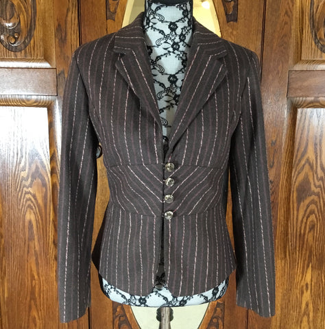 J. Jill Brown & Pink Pin Stripe Long Sleeve Jacket Size 6