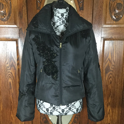 Guess Black Long Sleeve Nylon Crop Puffy Jacket with Floral Applicate Size S