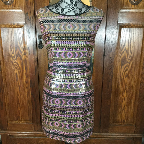 Forever 21 Pink, Gold, & Black Sequin Sleeveless Abstract Print Mini Dress Size L