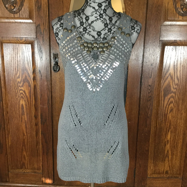 BCBGMaxAzria Silver Gray Embellished Sleeveless Knit Tunic Top Size L