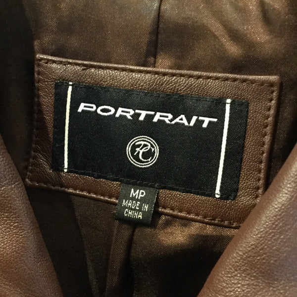 Portrait Brown Leather Long Sleeve Jacket Size M/P