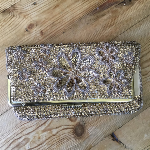 Vintage Gold Satin Beaded Floral & Sequin Fold Over Clutch Handbag