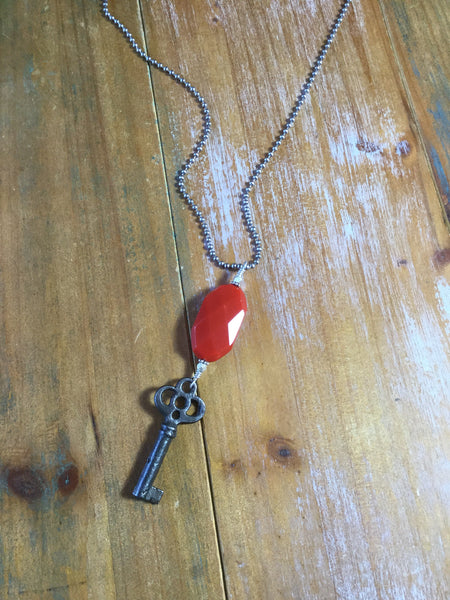 Handmade One of a Kind Vintage Skeleton Key & Red Cut Glass Necklace