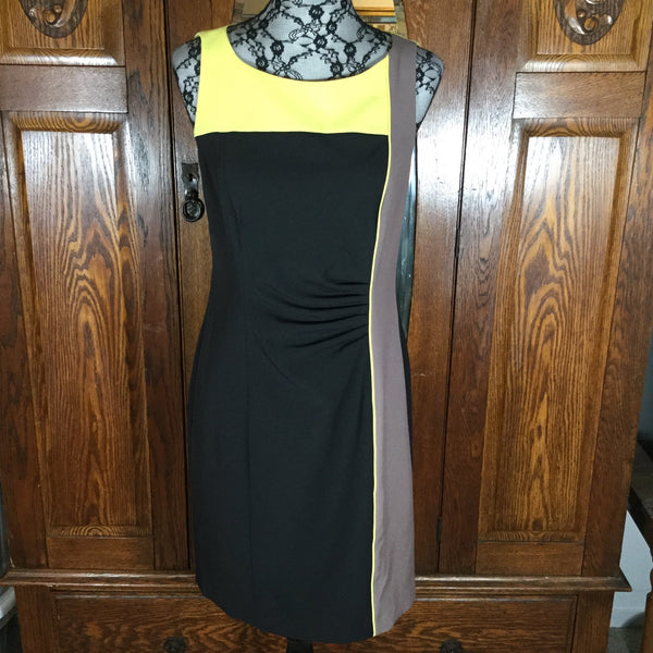 Vince Camuto Black, Yellow & Gray Color Block Sleeveless Dress Size 8
