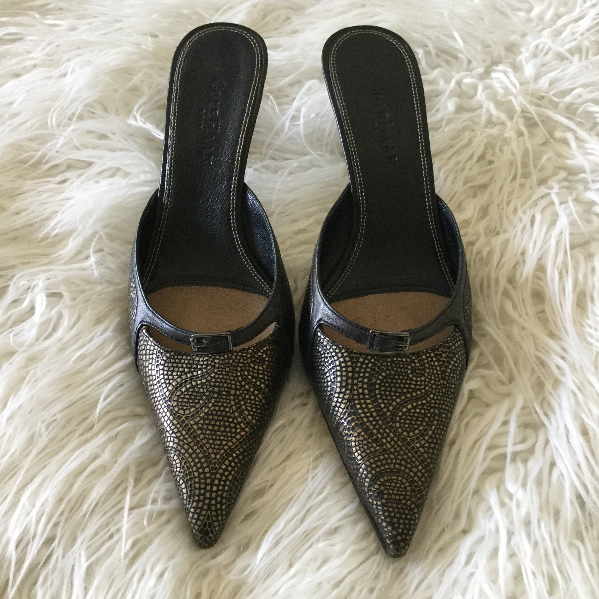 Cole Haan Black & Gold Leather Pointy Toe Kitten Heel Mules Size 7