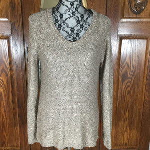 Apt. 9 Gold Sparkle Long Sleeve V-Neck Sweater Size L