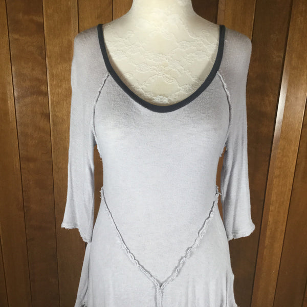 Free People Intimates Gray Sheer Knit Raw Edge Dress Size M