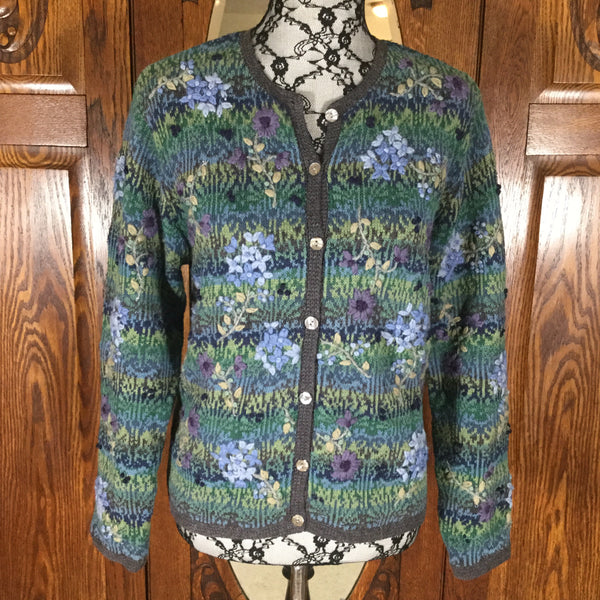 Talbots Green, Blue & Purple Floral Embroidered Cardigan Sweater Size M/P