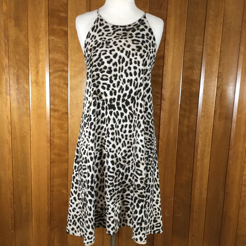Vince Camuto Brown & Cream Leopard Shift Dress Size M