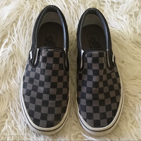 Vans Black & Gray Checked Slip On Sneakers Size 7.5 Women