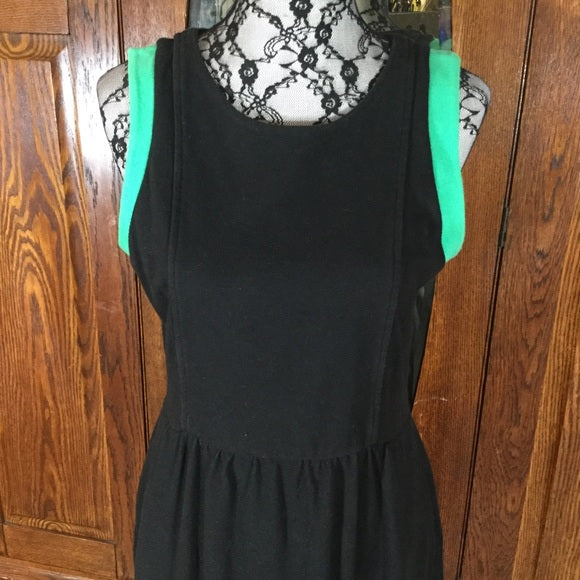 Gap Black & Green 100% Cotton Sleeveless Dress Size M