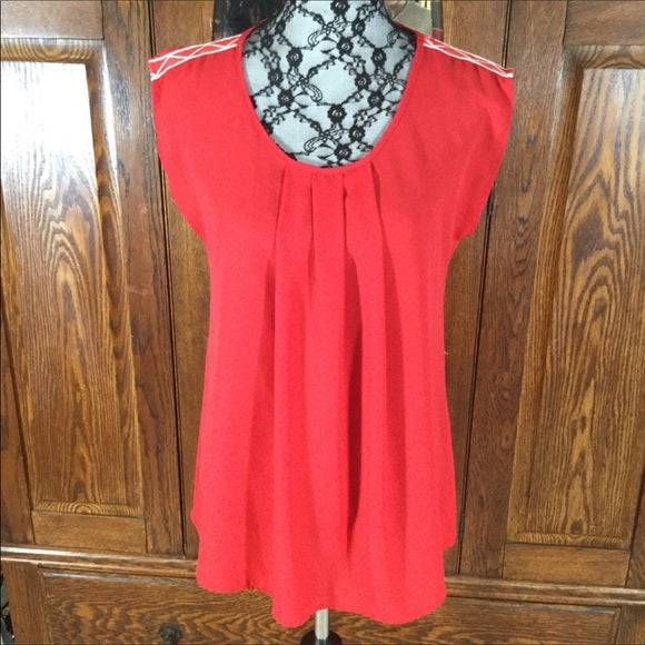 Pleione Red Sleeveless Tunic Top Size XS