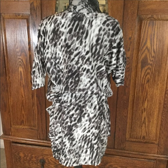 BCBGMaxAzria Black, White & Gray Leopard Print Silk Dress Size XS
