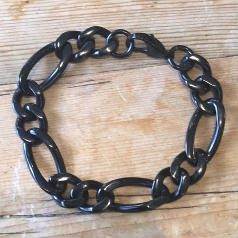 Black Stainless Steel Plate Chain Link Bracelet