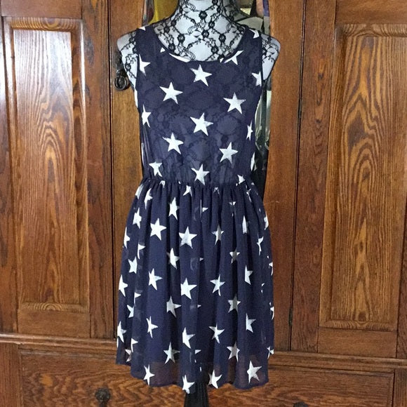 Love Audrey Navy Blue & White Star Mini Print Sleeveless Backless Dress Size M