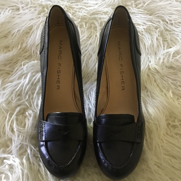 Marc Fisher Black Faux Leather Heeled Loafers Size 7.5