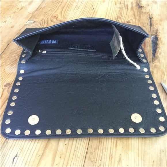 Forever 21 Black Faux Leather Studded Clutch Bag