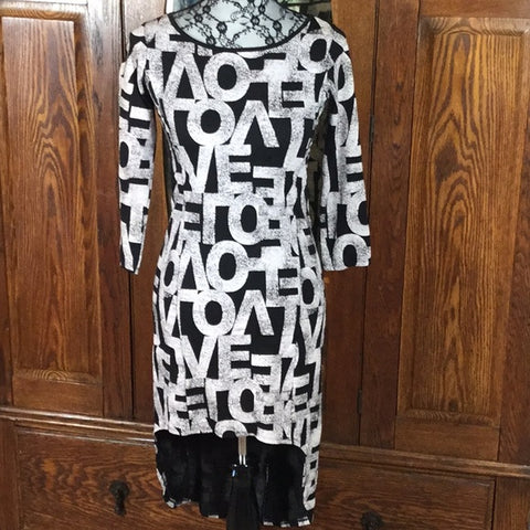 Vintage LOVE Print Black & White High Low Dress Size XS