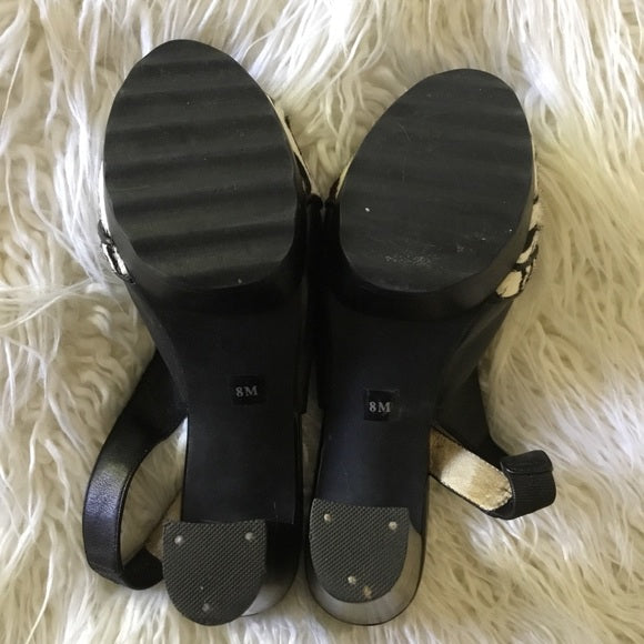 Michael Kors Black Leather & Zebra Pony Hair Heels Size 7.5