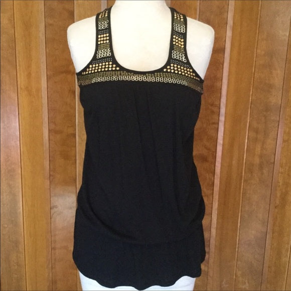 Express Black & Gold Beaded & Sequin Racer Back Tank Top Size XS