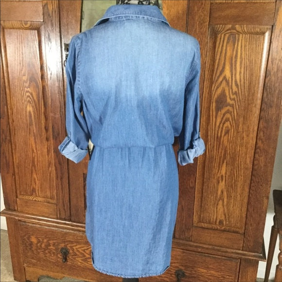 Gloria Vanderbilt Blue Chambray Long Sleeve Shirt Dress Size M