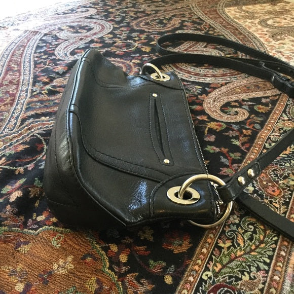 B Makowsky Black Leather Floral Embossed Crossbody Handbag Purse