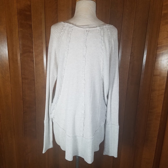 Free People We the Free Cream Long Sleeve Thermal Waffle Knit Top Size M