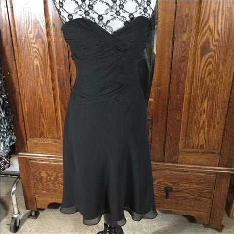White House Black Market Black Chiffon Strapless Dress Size 0