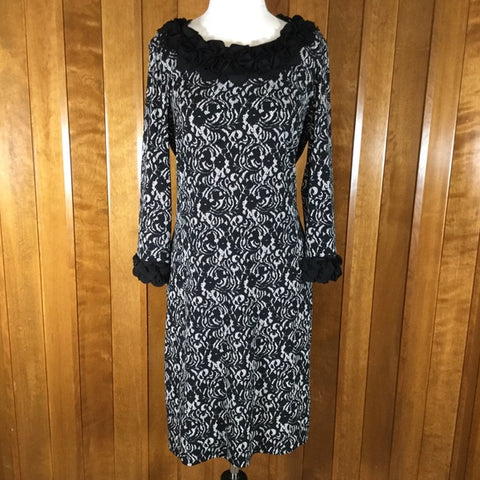 Alfani Black & White Lace Print & Floral Shift Dress Size M