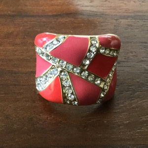 Gold & Coral Red Enamel & Rhinestone Ring